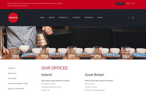 Screenshot of Contact Page marcobeveragesystems.com - Contact Us - captured Sept. 20, 2018
