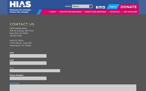 Screenshot of Contact Page hias.org - Contact Us | HIAS - captured Sept. 26, 2014