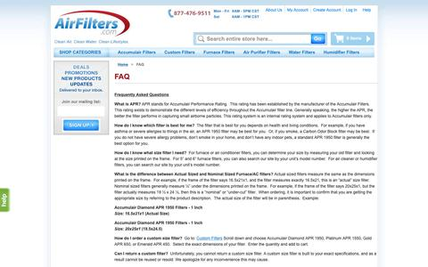 Screenshot of FAQ Page airfilters.com - FAQ - captured Oct. 2, 2018