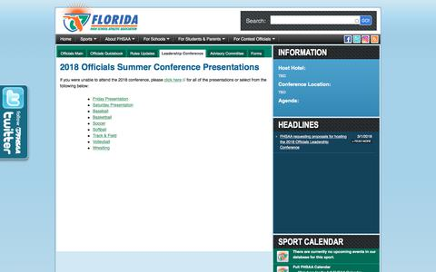 Screenshot of Team Page fhsaa.org - FHSAA.org | Leadership Conference - captured Sept. 24, 2018