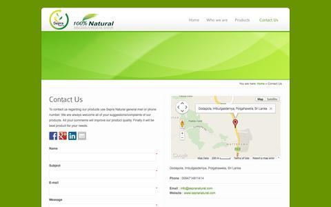 Screenshot of Contact Page sepranatural.com - Contact Us | 100% Natural Products | Sepra Natural - captured Sept. 30, 2014