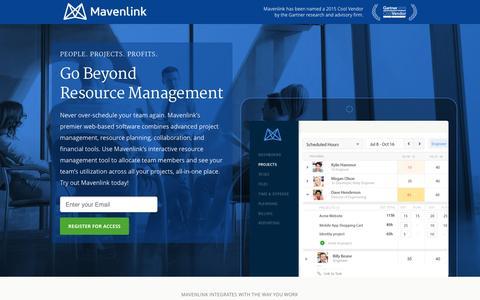 Screenshot of Landing Page mavenlink.com - Online Resource Management Software | Mavenlink - captured Dec. 18, 2015