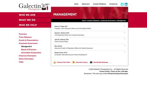 Screenshot of Team Page galectintherapeutics.com - Management - Galectin Therapeutics Inc. - captured Sept. 16, 2014