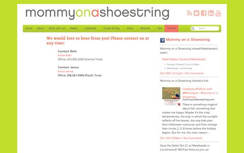 Screenshot of Contact Page mommyonashoestring.com - Contact - Mommy on a Shoestring - captured Oct. 26, 2014