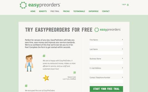 Screenshot of Trial Page easypreorders.com - 1 Month Free Trial | EasyPreOrders.com - captured Oct. 22, 2014