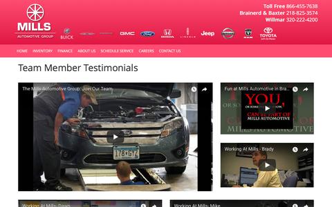 Screenshot of Testimonials Page millsauto.com - Team Member Testimonials - captured Oct. 19, 2017