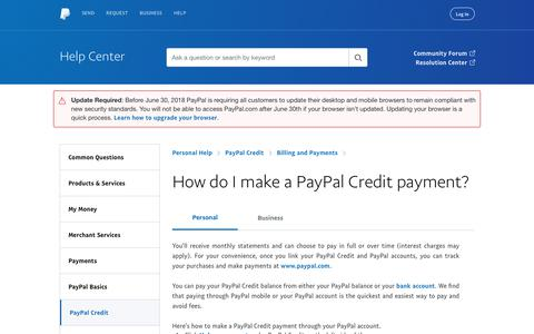How do I make a PayPal Credit payment?