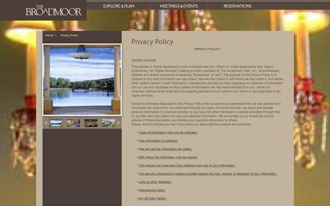 Screenshot of Privacy Page broadmoor.com - Luxury Resort Colorado | The Broadmoor | Colorado Resort Privacy Policy - captured Sept. 19, 2014