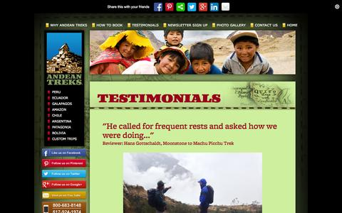 Screenshot of Testimonials Page andeantreks.com - Testimonials - captured Sept. 30, 2014