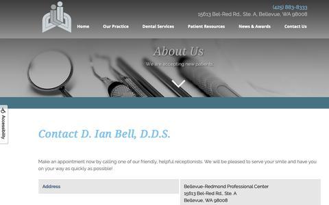 Screenshot of Contact Page Maps & Directions Page ianbelldds.com - D. Ian Bell, D.D.S. - Contact Us - Bellevue, WA - captured Oct. 2, 2018