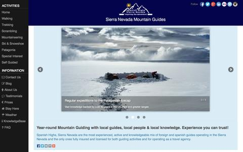 Screenshot of About Page spanishhighs.co.uk - Sierra Nevada Mountain Guides - captured Sept. 23, 2014