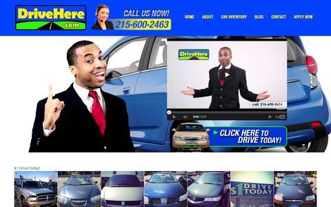 Screenshot of Home Page drivehere.com - DriveHere.com | $1 Drive Today - captured Oct. 5, 2014