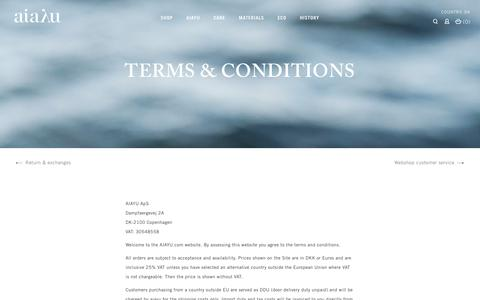 Screenshot of Terms Page aiayu.com - Terms & conditions - Contact - captured Nov. 19, 2016