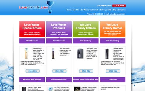 Screenshot of Products Page lovewater.com - Products - Love Water - captured Oct. 3, 2014