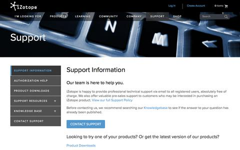 Screenshot of Support Page izotope.com - iZotope Support Information: Authorization | Audio Plug-ins - captured July 3, 2016