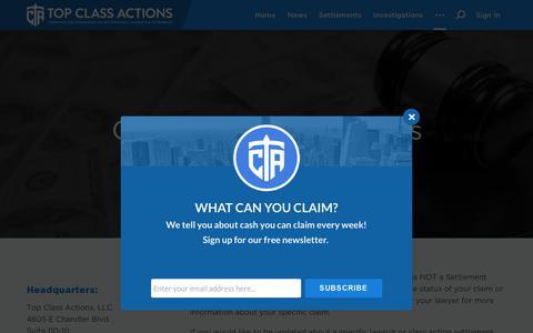 Screenshot of Contact Page topclassactions.com - Contact Top Class Actions - Top Class Actions - captured Oct. 19, 2018