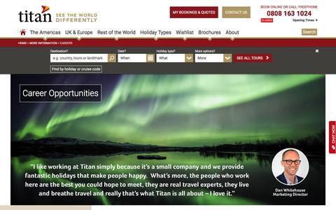 Screenshot of Jobs Page titantravel.co.uk - Careers | Titan Travel - captured Aug. 27, 2016