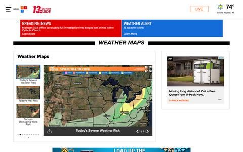 Screenshot of Maps & Directions Page wzzm13.com - Weather Maps on WZZM in Grand Rapids - captured Sept. 21, 2018