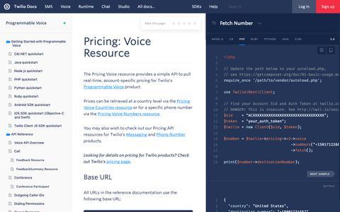 Screenshot of Pricing Page twilio.com - Pricing: Voice Resource - Twilio - captured June 13, 2019