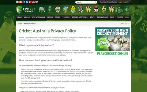 Screenshot of Privacy Page cricket.com.au - Cricket Australia Privacy Policy - captured Sept. 18, 2014