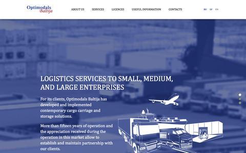 Screenshot of Home Page optimodals.com - Optimodals Baltija - captured Feb. 17, 2016
