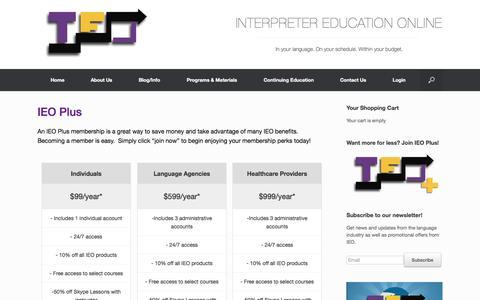 Screenshot of Signup Page interpretereducationonline.com - IEO Plus | Interpreter Education Online - captured Oct. 6, 2014