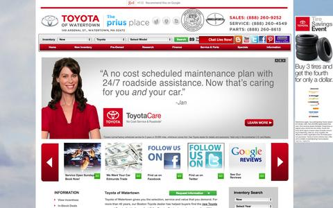 Screenshot of Home Page Testimonials Page toyotaofwatertown.com - Toyota of Watertown: Boston Toyota Dealer - New & Used Cars & Trucks - captured Oct. 7, 2014