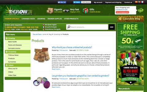 Screenshot of Products Page thgrow.com - Products - captured Nov. 19, 2017