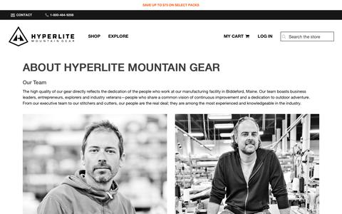 Screenshot of About Page Team Page hyperlitemountaingear.com - About Hyperlite Mountain Gear - captured Nov. 16, 2019