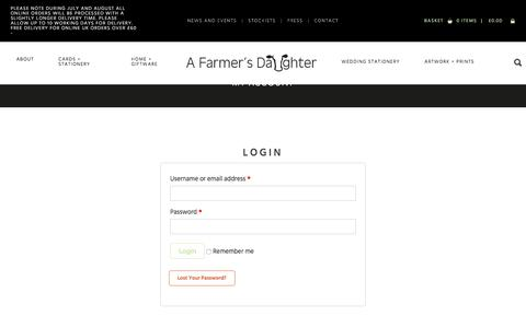 Screenshot of Login Page afarmersdaughter.co.uk - A Farmer's Daughter Rural greetings cards, gifts and country wedding stationery. - captured July 16, 2018