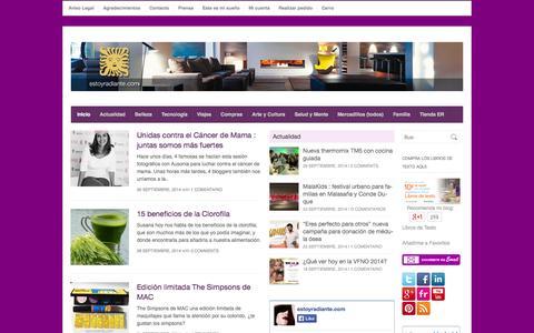 Screenshot of Home Page estoyradiante.com - estoyradiante - Belleza, maquillajes, mercadillos, trucos, chollos, becas y todo para la mujer - captured Oct. 3, 2014