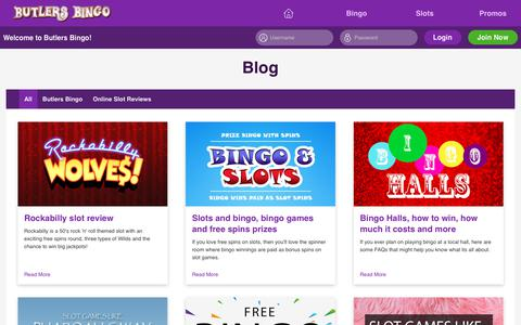 Screenshot of Blog butlersbingo.com - Butlers Bingo for great Bingo and slots, with free spins and new player bonus. - captured May 3, 2019