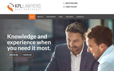 Screenshot of Home Page kpl.net.au - Kazi Portolesi Lawyers | Fairfield Lawyers | NSW Lawyers - captured Nov. 15, 2018