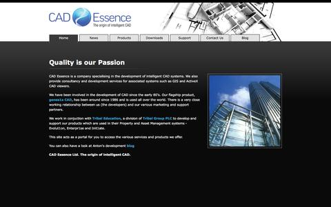 Screenshot of Home Page cad-essence.com - CAD Essence, intelligent CAD systems - consultancy and development services for GIS and ActiveX CAD viewers - captured May 17, 2016