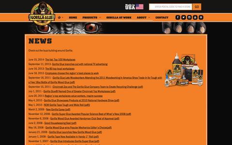 Screenshot of Press Page gorillatough.com - The Gorilla Glue Company | News | Releases | Updates - captured Sept. 23, 2014