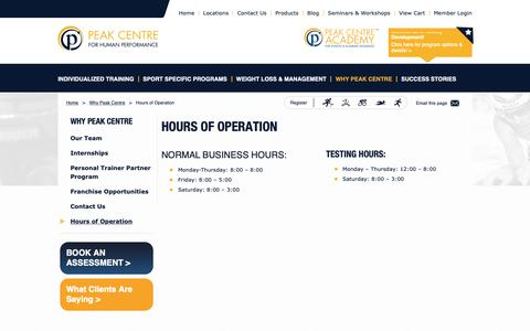 Screenshot of Hours Page peakcentre.ca - Hours of Operation - Peak Centre - captured Sept. 27, 2018