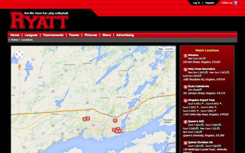 Screenshot of Locations Page ryatt.ca - Ryatt - Live Life. Have Fun. Play Volleyball. - captured Sept. 30, 2014