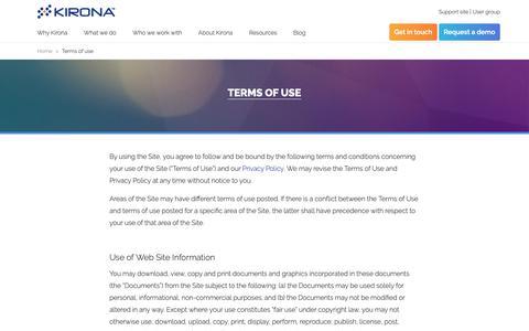 Screenshot of Terms Page kirona.com - Terms of use  Kirona - captured Oct. 20, 2018