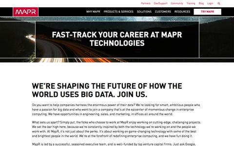 Screenshot of Jobs Page mapr.com - Fast-Track Your Career at MapR Technologies | MapR - captured March 16, 2017