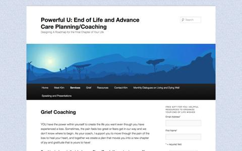Screenshot of Pricing Page yourgriefandlosscoach.com - Grief Coaching | Powerful U: End of Life and Advance Care Planning/Coaching - captured Nov. 10, 2016