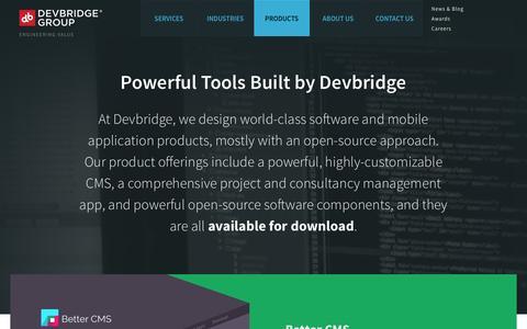 Screenshot of Products Page devbridge.com - Products - captured Sept. 19, 2014
