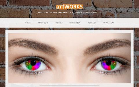 Screenshot of Home Page artworks-design.de - artWORKS Werbeagentur für Grafik- und Webdesign | Leonberg | Maxhütte-Haidhof | Burglengenfeld | Regensburg | Schwandorf - captured June 11, 2016