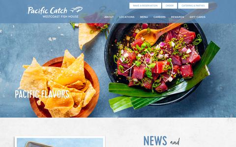 Screenshot of Home Page pacificcatch.com - Pacific Catch Westcoast Fish House | Seafood - captured Aug. 16, 2019