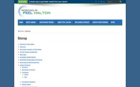 Screenshot of Site Map Page workinginpeelhalton.com - Sitemap - Working In Peel Halton - captured June 14, 2017