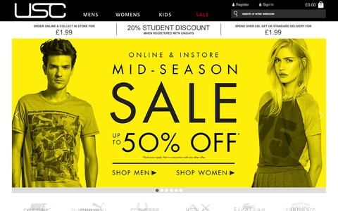 Screenshot of Home Page usc.co.uk - USC | Shop Mens Clothing and Womens Fashion - captured Sept. 24, 2014