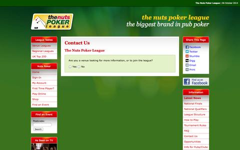 Screenshot of Contact Page thenutspokerleague.com - Contact Us - The Nuts Poker League - captured Oct. 6, 2014