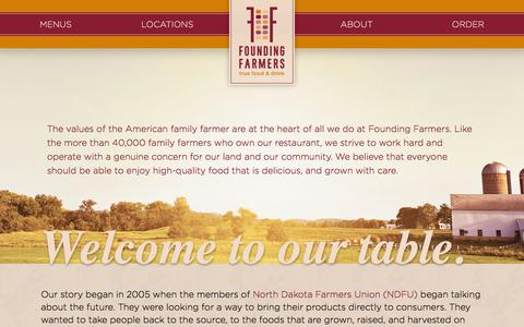Screenshot of About Page wearefoundingfarmers.com - Welcome to Our Table | About | Founding Farmers - captured Feb. 9, 2016