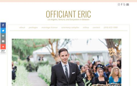 Screenshot of Contact Page officianteric.com - Contact Officiant Eric - captured Oct. 19, 2018