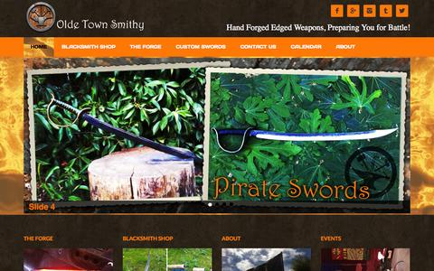 Screenshot of Home Page oldetownsmithy.com - Olde Town Smithy - Hand Forged Edged Weapons, Preparing You for Battle! - captured Oct. 9, 2014