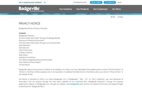 Screenshot of Privacy Page badgeville.com - Privacy Notice | Badgeville, The #1 Gamification Platform for Customer Loyalty and Employee Productivity - captured Sept. 13, 2014